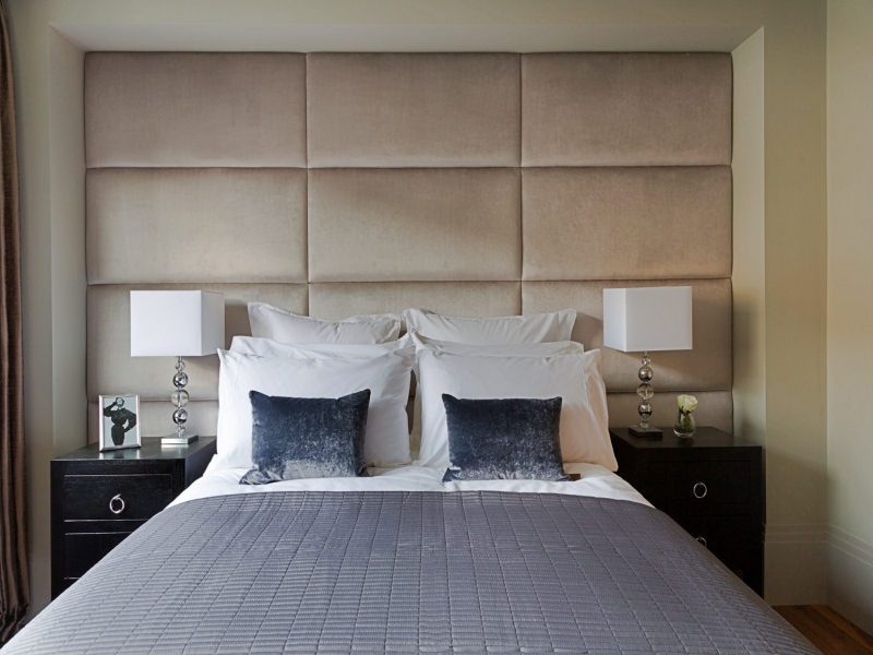 Beige upholstered wall panel london headboards battersea for London bedroom set with lighted headboard