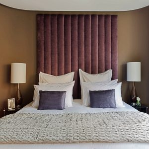 Purple Velvet Upholstered Headboard - London Headboards Shop UK