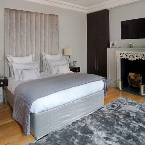 Luxury Tall Upholstered Headboard - Cavendish Beige Velvet UK