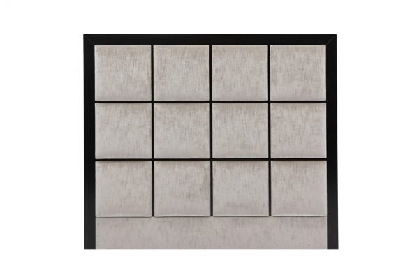 Square Upholstered Headboard Mounted in Black Wooden Panel